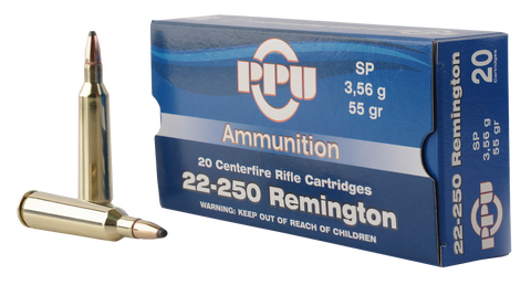 PPU PP22250 Standard Rifle 22-250 Remington 55 GR Soft Point 20 Bx/ 10 Cs