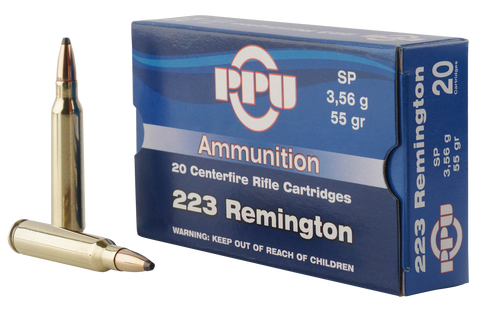 PPU PP223S Standard Rifle 223 Remington/5.56 NATO 55 GR Soft Point 20 Bx/ 50 Cs