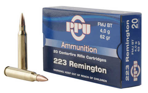 PPU PP223F2 Standard Rifle 223 Remington/5.56 NATO 62 GR Full Metal Jacket Boat Tail 20 Bx/ 50 Cs