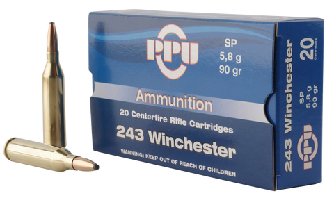 PPU PP2431 Standard Rifle 243 Winchester 90 GR Soft Point 20 Bx/ 10 Cs