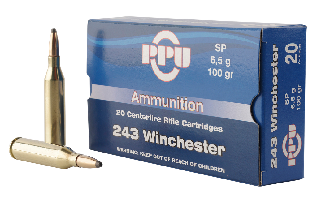 PPU PP2432 Standard Rifle 243 Winchester 100 GR Soft Point 20 Bx/ 10 Cs