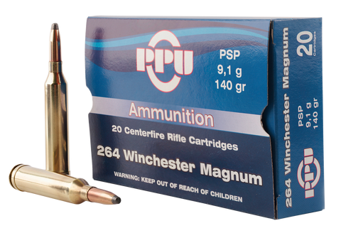 PPU PP264 Standard Rifle 264 Winchester Magnum 140 GR Pointed Soft Point 20 Bx/ 10 Cs