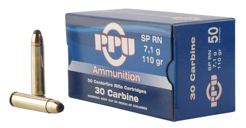 PPU PP30S Standard Rifle 30 Carbine 110 GR Soft Point 50 Bx/ 10 Cs