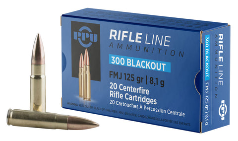 PPU PP300BF Standard Rifle 300 AAC Blackout/Whisper (7.62x35mm) 125 GR Flat Point Jacketed 20 Bx/ 50 Cs