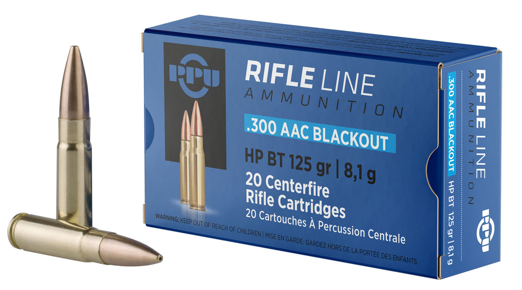 PPU PP300BH Standard Rifle 300 AAC Blackout/Whisper (7.62x35mm) 125 GR Hollow Point Boat Tail 20 Bx/ 50 Cs