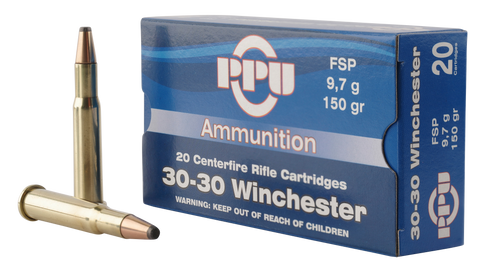 PPU PP30301 Standard Rifle 30-30 Winchester 150 GR Flat Soft Point 20 Bx/ 10 Cs