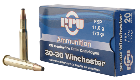 PPU PP30302 Standard Rifle 30-30 Winchester 170 GR Flat Soft Point 20 Bx/ 10 Cs