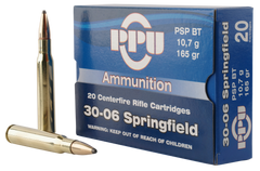 PPU PP30062 Standard Rifle 30-06 Springfield 165 GR Pointed Soft Point 20 Bx/ 10 Cs