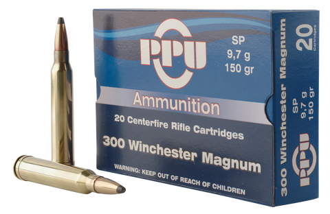 PPU PP3001 Standard Rifle 300 Winchester Magnum 150 GR Soft Point 20 Bx/ 10 Cs