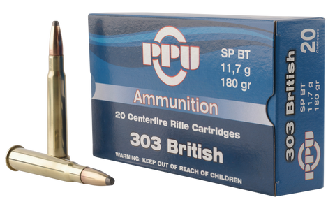 PPU PP303S2 Standard Rifle 303 British 180 GR Soft Point 20 Bx/ 10 Cs