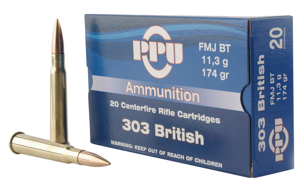 PPU PP303F Standard Rifle 303 British 174 GR Full Metal Jacket 20 Bx/ 10 Cs