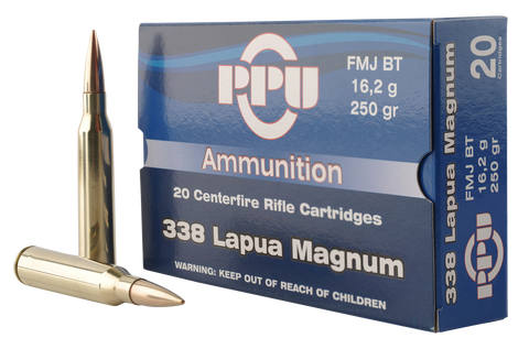 PPU PP338F Standard Rifle 338 Lapua Magnum 250 GR Full Metal Jacket 10 Bx/ 20 Cs