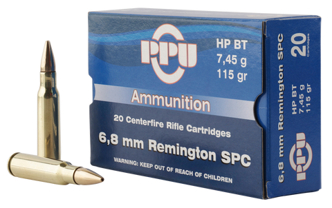 PPU PP68F Standard Rifle 6.8mm Remington SPC 115 GR Full Metal Jacket Boat Tail 20 Bx/ 50 Cs