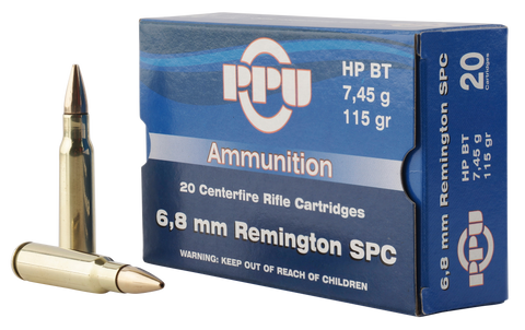 PPU PP68H Standard Rifle 6.8mm Remington SPC 115 GR Hollow Point Boat Tail 20 Bx/ 50 Cs