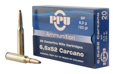 PPU PP3083 Metric Rifle 6.5x52mm Carcano 123 GR Soft Point 20 Bx/ 10 Cs