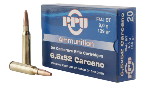 PPU PP3006G Metric Rifle 6.5x52mm Carcano 139 GR Full Metal Jacket 20 Bx/ 10 Cs