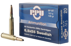 PPU PP30061 Metric Rifle 6.5x55 Swedish 139 GR Soft Point 20 Bx/ 10 Cs