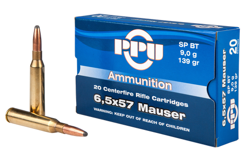 PPU PP30063 Metric Rifle 6.5x57mm Mauser 139 GR Soft Point Boat Tail 20 Bx/ 10 Cs