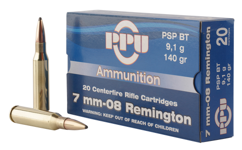PPU PP3002 Metric Rifle 7mm-08 Remington 140 GR Pointed Soft Point Boat Tail 20 Bx/ 10 Cs