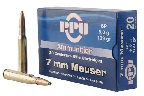 PPU PP3003 Metric Rifle 7mm Mauser 139 GR Soft Point 20 Bx/ 10 Cs