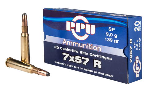 PPU PP303S1 Metric Rifle 7x57R 139 GR Soft Point 20 Bx/ 10 Cs
