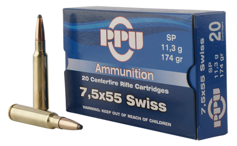 PPU PP303F Metric Rifle 7.5x55mm Swiss 174 GR Soft Point 20 Bx/ 10 Cs