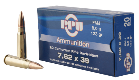 PPU PP338H Metric Rifle 7.62x39mm 123 GR Full Metal Case 20 Bx/ 50 Cs