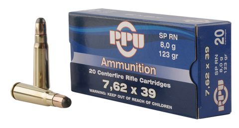 PPU PP375F Metric Rifle 7.62x39mm 123 GR Soft Point 20 Bx/ 50 Cs