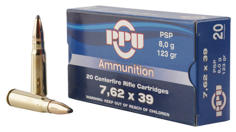 PPU PP375S Metric Rifle 7.62x39mm 123 GR Pointed Soft Point 20 Bx/ 50 Cs
