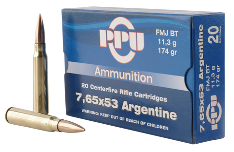 PPU PP68H Metric Rifle 7.65x53mm Argentine 174 GR Full Metal Jacket 20 Bx/ 10 Cs