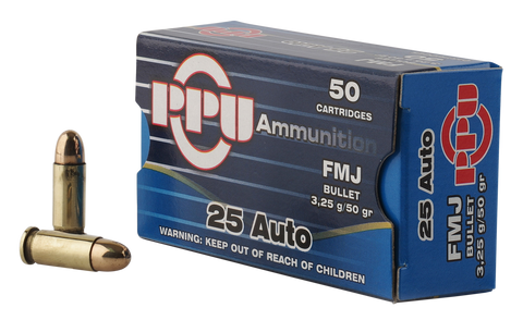 PPU PPH25 Handgun 25 Automatic Colt Pistol (ACP) 50 GR Full Metal Jacket 50 Bx/ 20 Cs