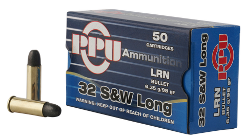 PPU PPH32SW Handgun 32 Smith & Wesson Long 98 GR Lead Round Nose 50 Bx/ 10 Cs
