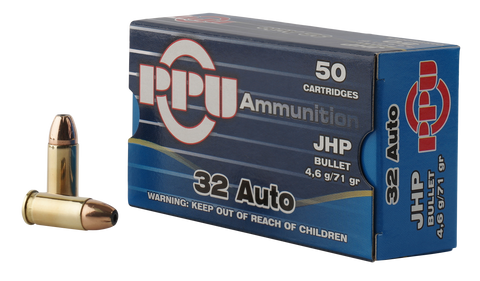 PPU PPR3.11 Handgun 32 Automatic Colt Pistol (ACP) 71 GR Jacketed Hollow Point 50 Bx/ 20 Cs