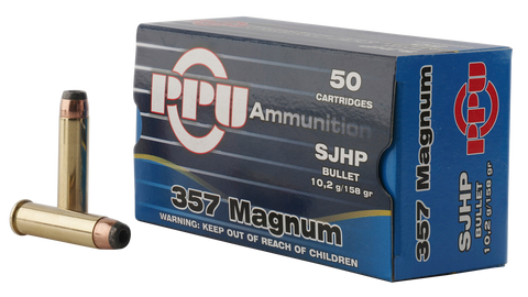 PPU PPH357MH Handgun 357 Magnum 158 GR Semi-Jacketed Hollow Point 50 Bx/ 10 Cs