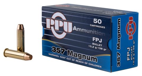 PPU PPH357MF Handgun 357 Magnum 158 GR Flat Point Jacketed 50 Bx/ 10 Cs