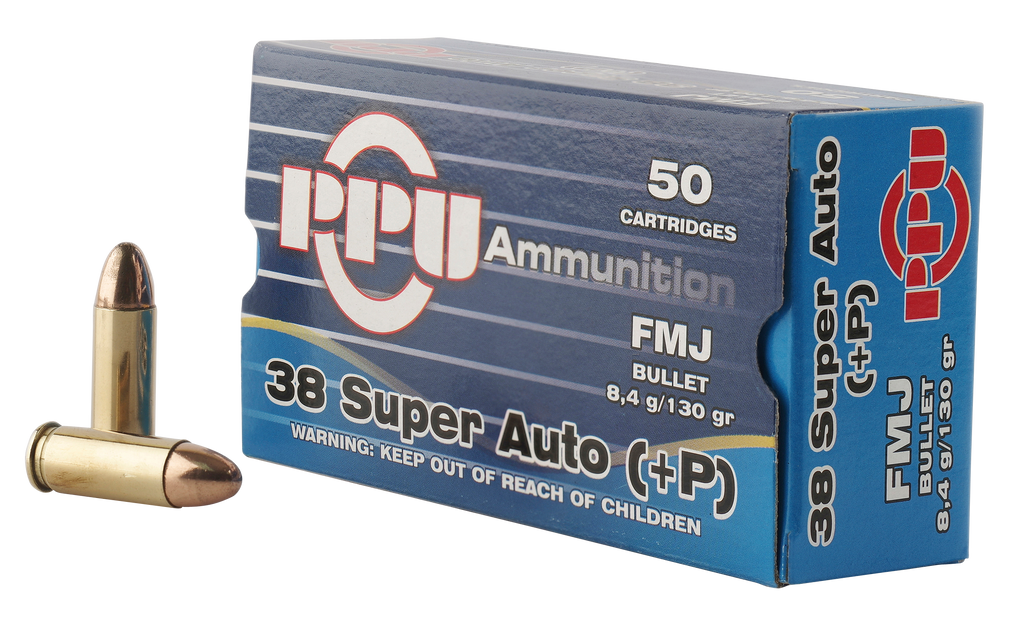 PPU PPH38SU Handgun 38 Super +P 130 GR Full Metal Jacket 50 Bx/ 10 Cs