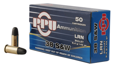 PPU PPH38SW Handgun 38 Smith & Wesson (S&W) 145 GR Lead Round Nose 50 Bx/ 20 Cs