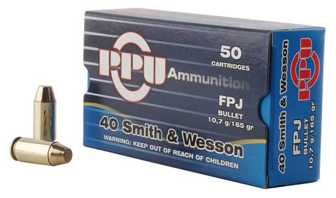 PPU PPH40F Handgun 40 Smith & Wesson (S&W) 165 GR Flat Point Jacketed 50 Bx/ 10 Cs