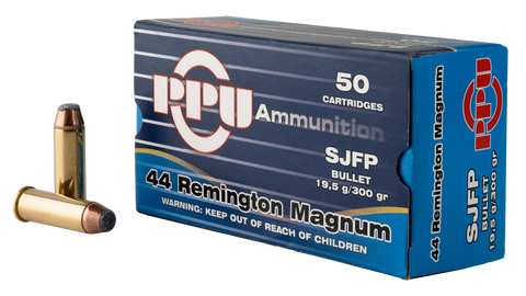PPU PPH44MF Handgun 44 Remington Magnum 300 GR Semi-Jacketed Flat Point 50 Bx/ 10 Cs