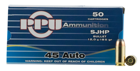 PPU PPR4.31 Handgun 45 Automatic Colt Pistol (ACP) 185 GR Semi-Jacketed Hollow Point 50 Bx/ 10 Cs