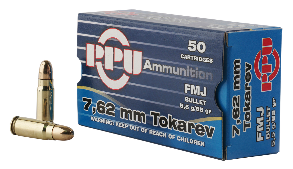 PPU PPH7TF Handgun 7.62x25mm Tokarev 85 GR Full Metal Jacket 50 Bx/ 10 Cs