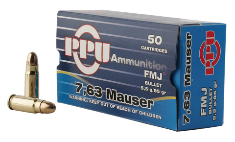 PPU PPH763 Handgun 7.63mm Mauser 85 GR Full Metal Jacket 50 Bx/ 10 Cs