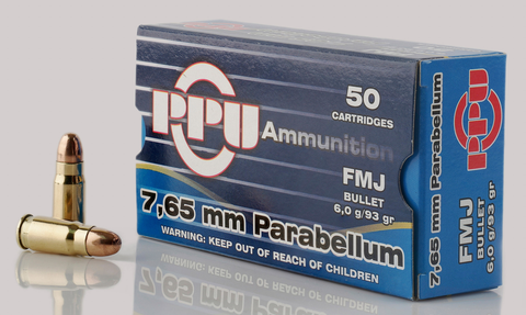 PPU PPH765P Handgun 7.65 Parabellum 93 GR Full Metal Jacket 50 Bx/ 20 Cs