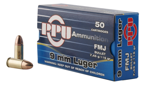PPU PPH9F1 Handgun 9mm Luger 115 GR Full Metal Jacket 50 Bx/ 20 Cs