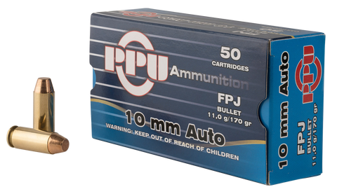 PPU PPH10F Handgun 10mm Automatic 170 GR Flat Point Jacketed 50 Bx/ 10 Cs