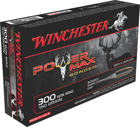 Winchester Ammo X30WM1BP Super-X 300 Winchester Magnum 150 GR Power Max Bonded 20 Bx/ 10 Cs