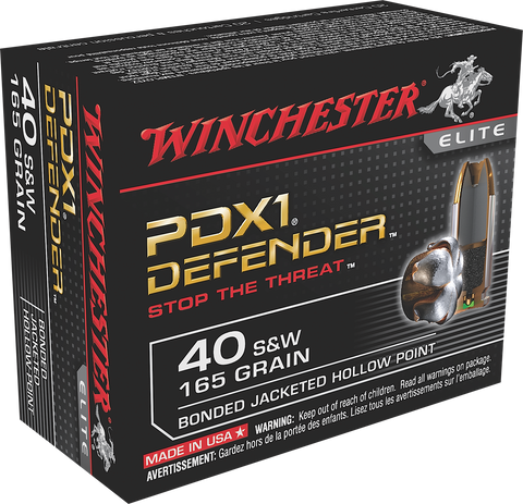 Winchester Ammo S40SWPDB Elite 40 Smith & Wesson (S&W) 165 GR Bonded Jacket Hollow Point 20 Bx/ 10 Cs