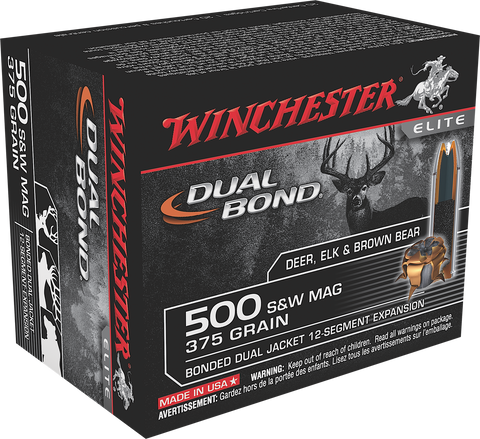 Winchester Ammo S500SWDB Elite 500 Smith & Wesson 375 GR Dual Jacket Hollow Point 20 Bx/ 10 Cs