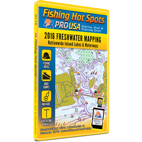 Fishing Hot Spots PRO USA Digital Map & Fishing Chip - Nationwide Inland Lakes & Waterways 2016