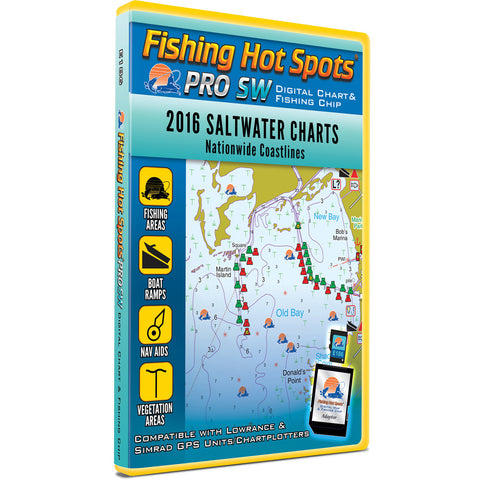 Fishing Hot Spots PRO SW Digital Chart & Fishing Chip - Saltwater Nationwide Coastlines 2016